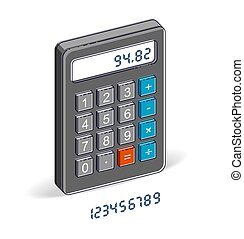 Calculator isolated on white background with letters set, easy editable to put any numbers over, 3d isometric vector illustration.