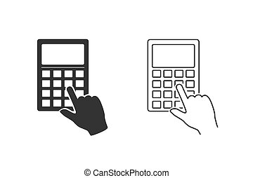 Calculator line icon on white background. Vector illustration