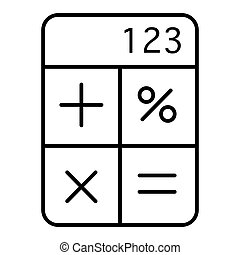 calculator line vector icon. Flat outline style. Isolated on white background.