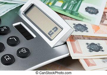 Calculator lying on the euro