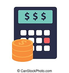 calculator math with coins money flat style icon vector ...