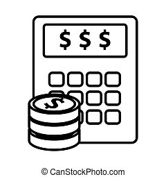 calculator math with coins money line style icon vector ...