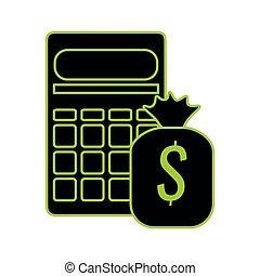 calculator math with money bag vector illustration design