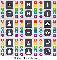 Calculator, Media skip, Arrow down, Avatar, Arrow left, Bug, Battery, Cone, Magnifying glass icon symbol. A large set of flat, colored buttons for your design. Vector