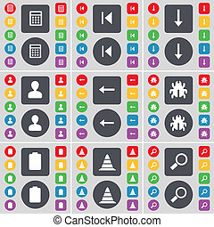 Calculator, Media skip, Arrow down, Avatar, Arrow left, Bug, Battery, Cone, Magnifying glass icon symbol. A large set of flat, colored buttons for your design.