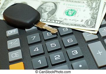 Calculator, momey and car key