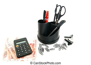 calculator, money and other stationery