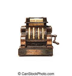 Calculator - Old bronze calculator machine over white...