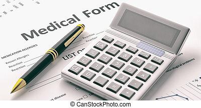 Calculator on a medical form. 3d illustration