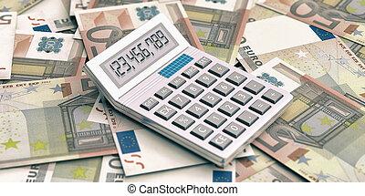 Calculator on euros background. 3d illustration