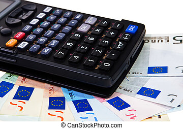 Calculator on top of Euro banknotes isolated over white background.