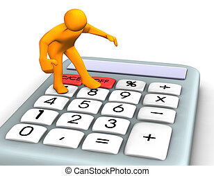 Orange cartoon with a calculator on white.