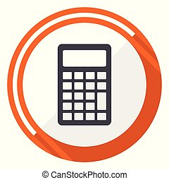 Calculator orange flat design vector web icon
