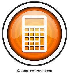 calculator orange glossy icon isolated on white background