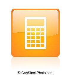 calculator orange square glossy web icon