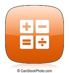 calculator orange square web design glossy icon