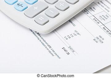 Calculator over utility bill