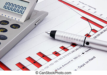 Calculator, pen and Business Chart
