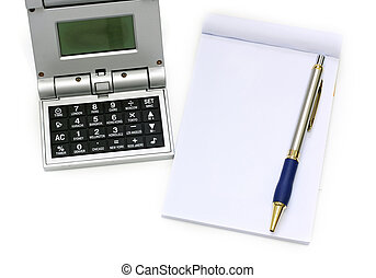 Calculator pen and notebook on white background