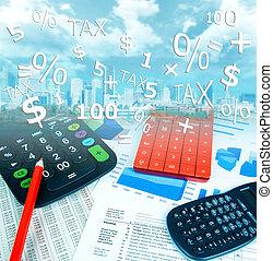 Calculator pen and paper. - Calculator pen and paper at the...
