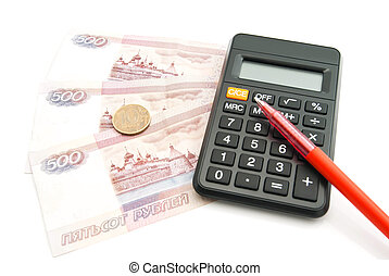 calculator, pen, banknotes and coins on white