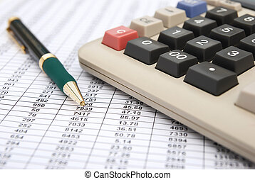 calculator & pen on a chart background, business concept