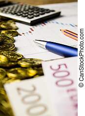 calculator, pencil and money on graffica the Dow Jones on forex market