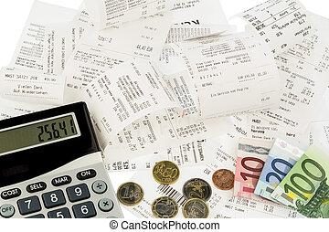 calculator, receipts, bills - calculator, receipts and money...