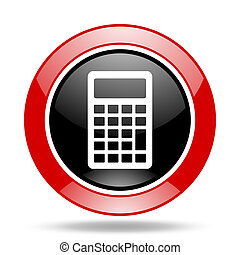 calculator red and black web glossy round icon