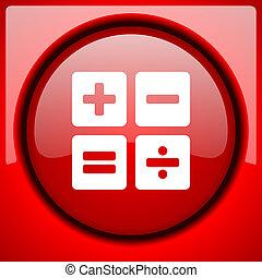 calculator red icon plastic glossy button