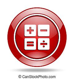 calculator red web glossy round icon