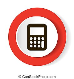 Calculator red web icon.