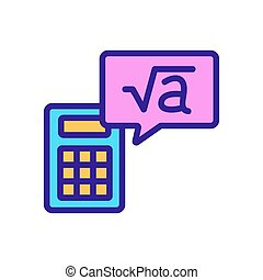 calculator root icon vector outline illustration