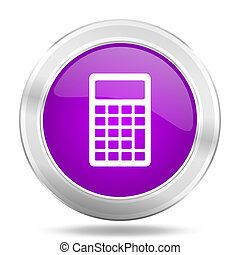 calculator round glossy pink silver metallic icon, modern design web element