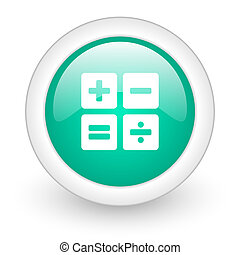 calculator round glossy web icon on white background