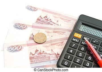 calculator, Russian banknotes, coin and pen