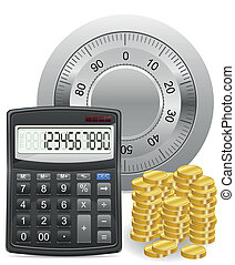 calculator safe and gold coins