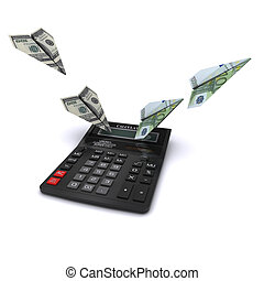 Calculator says paper airplanes out of dollars and euros. Symbol counting currency exchange rates. 3D rendering