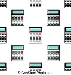Calculator seamless pattern in cartoon style isolated on white background vector illustration