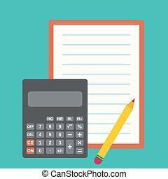 Calculator, sheets of paper