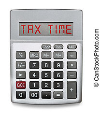 Calculator showing the word Tax Time