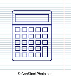 Calculator simple sign. Vector. Navy line icon on notebook paper as background with red line for field.