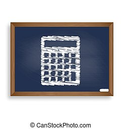 Calculator simple sign. White chalk icon on blue school board wi