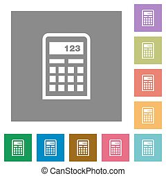 Calculator square flat icons