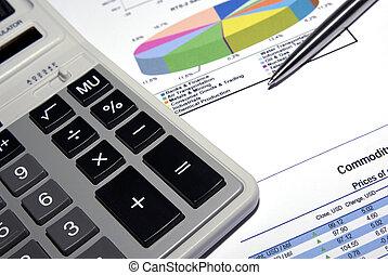 Calculator, steel pen and printed analysis report.