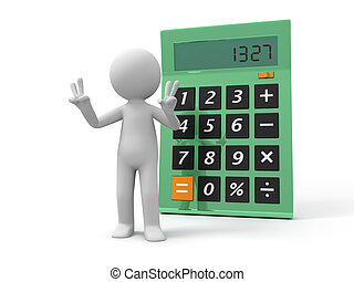 calculator - A 3d man standing back to the calculator