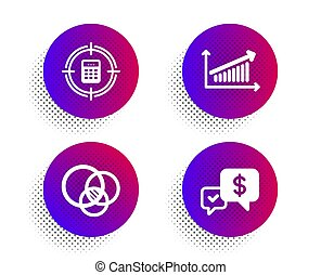 Calculator target, Euler diagram and Chart icons set. Payment received sign. Audit, Relationships chart, Money. Vector