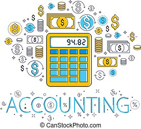 Calculator taxes and accounting concept surrounded by...