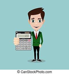 calculator., tenencia, hombre