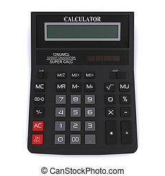 calculator., ufficio, above., interpretazione, nero, vista, 3d
